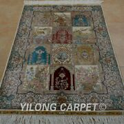 Yilong 3and039x4.5and039 Handknotted Silk Area Rug Home Decor Luxury Classic Carpet 0581