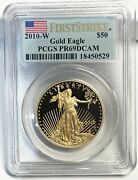 2010 -w First Strike 50 Proof Gold Eagle Coin - Pcgs Pr69dcam