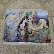 Yilong 3and039x4and039 Goddess Tapestry Handmade Silk Carpet Vintage Home Area Rug Tj101a