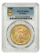 1908 20 Pcgs Ms64 No Motto Great Type Coin - Great Type Coin