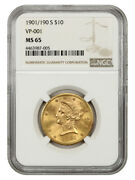 1901/190-s 10 Ngc Ms65 Vp-001 - Liberty Eagle - Gold Coin