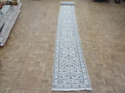 2and0399 X 26and0396 Runner Hand Knotted Ivory Nain With Silk Oriental Rug G6601