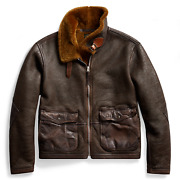 Rrl Double Rl Flight Brown Shearling Military Jacket Menand039s L Large