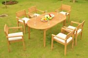 Montana Grade-a Teak Wood 7 Pc Dining 94 Oval Table 8 Stacking Arm Chair Set