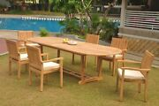 A-grade Teak 7pc Dining 118 Mas Oval Table Leveb Stacking Arm Chair Set Outdoor