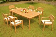 Montana A-grade Teak 7pc Dining 117 Rectangle Table Stacking Arm Chair Patio Set