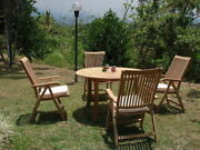 Marley A-grade Teak 5pc Dining 52 Round Table 4 Reclining Folding Arm Chair New