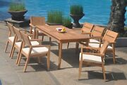 A-grade Teak 9pc Dining 60 Rectangle Table 8 Vellore Stacking Arm Chair Set