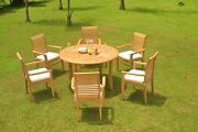 A-grade Teak 7pc Dining 52 Round Table 6 Mas Stacking Arm Chair Set Outdoor