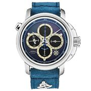 L. Kendall Menand039s K4 Black Mop Dial Blue Leather Strap Chronograph Gmt K4-001b