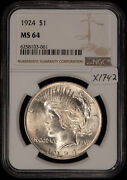1924 1 Silver Peace Dollar - Strong For Grade - Ngc Ms 64 - Sku-x1742