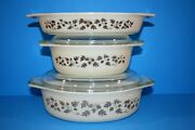 Vintage Pyrex Golden Acorn Oval Casseroles - Set Of 3 Creamy Yellow And Gold Print