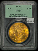 1904 20 Gold Liberty Double Eagle - Ogh Pcgs Ms 64 - Pq Ex Luster - Sku-g1108