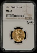 1992 G10 1/4 Oz American Eagle Gold Coin - Key Date - Ngc Ms 69 - Sku-g1126