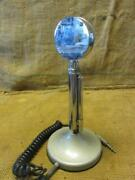 Vintage Astatic Microphone And Stand Antique Old Mike Mic Chrome Steampunk 10293