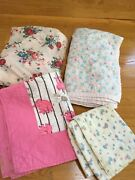 Lot Of 4 Vintage Antique Doll Quilts And Blankets Flannel Tied Cotton Quilted