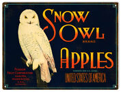 Vintage Style Sign Snow Owl Apples 12 X 9