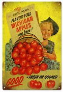 Vintage Style Sign Michigan Apples 18 X 12