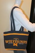 University Of Michigan T-shirt Tote Bag Handmade Blue Upcycled Embroidered