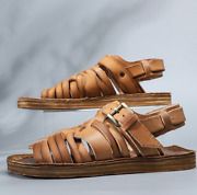 Roma Summer Mens Real Cow Leather Sandals Shoes Open Toe Flats Comfy Sand Casual