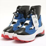 Maison Margiela X Reebok 20aw Leather X Fabric High Top Sneakers Jp27 Menand039s Blue