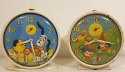 Vintage Noddy And Big Ears + Sooty And Sweep Alarm Clocks Made By Smiths, 1960's