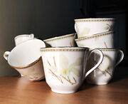 9 Dcand039d Vintage 1978 Royal Doulton England Serene White Nile Pattern Orchid Cups