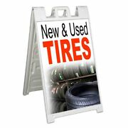 New And Used Tires Signicade 24x36 Aframe Sidewalk Sign Banner Decal Automotive
