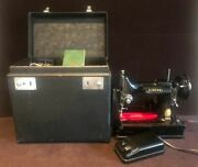1950's Singer Portable Electric Sewing Machine 221 W/ Case And Accessories- Works