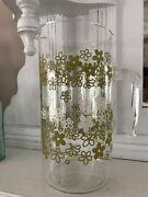 Vintage Pyrex Glass Pitcher Crazy Daisy Green Flower Rare No Lid Great Condition