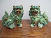 Large Vintage Pair Chinese Porcelain Foo Dog/lions Statues Figurines Green Glaze