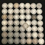 Barber Dime Roll 50 Mixed Dates Silver Coins - Vg 85g2