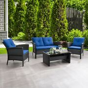 4 Piece Wicker Rattan Patio Set Outdoor Furniture Sofa Seating Pool Table Chairs