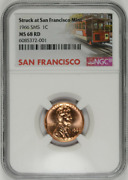 1966 Sms 1c Lincoln Cent San Francisco Strike Label Ngc Ms-68-rd High-grades