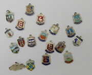 Job Lot Of 19 Silver And Enamel Travel Shield Charms 2 Mostly Sterling