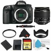 Canon Eos 7d Mark Ii Dslr Camera Body Only Basic Filter Bundle W/memory And 18-55m
