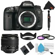 Canon Eos 7d Mark Ii Dslr Camera Body Only 3 Piece Filter Bundle W/ 18-55mm Lens