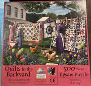 18 X 24 Quilts In The Backyard Amish 500 Pc Sunsout Puzzle Brand New Sealed