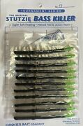 Stutzie Rubber Fishing Worms Bass Killer12 Per Card Black/chart. Tail 18