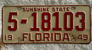 Good Solid 1949 Florida License Plate See My Other Plates