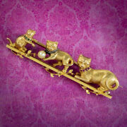 Antique Victorian French Cat Brooch Gemstone Collars 18ct Gold Circa 1900