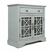 Craftsman Series 32 Inch Wooden Accent Cabinet With Fretwork Glass Front, Earl
