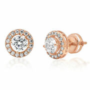 1.3 Ct Round Cut Halo Studs Natural Diamond 18k Rose Gold Earrings Screw Back