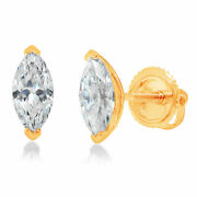 1.0 Ct Marquise Cut Studs Natural Diamond 18k Yellow Gold Earrings Screw Back