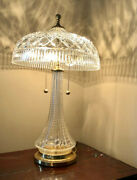 Waterford 2 Beaumont Crystal And Brass Lamps - Electric With Pull Down Chain