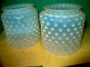 2 Antique C.1870-80's Matching Opalescent Hobnail Oil Lamp Glass Shade