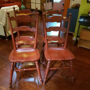 Antique Red Finish 4 Tell City Hard Rock Maple Ladder Dining Kitchen Chairs 8032