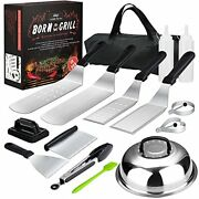 15 Pcs Flat-top Grilling Kits, Stainless Steel Bbq Accessories, Outdoor Camping