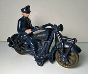 Antique 1930's Cast Blue Iron Champion Police Motorcycle 7 Hubley