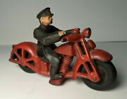 Vintage Hubley Cast Iron Red Motorcycle Rider Policeman Officer 4